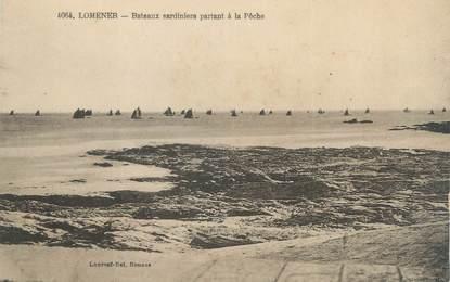 """/ CPA FRANCE 56 """"Lomener, bateaux sardiniers partant à la pêche"""""""