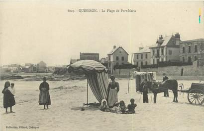 "/ CPA FRANCE 56 ""Quiberon, la plage de Port Maria"" / ATTELAGE"