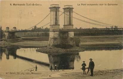 """/ CPA FRANCE 47 """"Marmande, le pont suspendu sur la Garonne"""""""