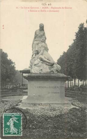 "/ CPA FRANCE 47 ""Agen, esplanade du Gravier, Samson et Dalila"""
