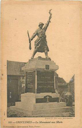 "CPA FRANCE 80 ""Grivesnes, le monument aux morts"""