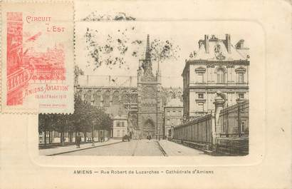 "CPA FRANCE 80 ""Amiens, rue Robert de Luzarches"" / VIGNETTE AU RECTO"