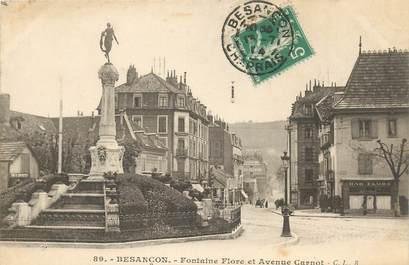 """CPA FRANCE 25 """"Besançon, Fontaine Flore et avenue Carnot"""""""