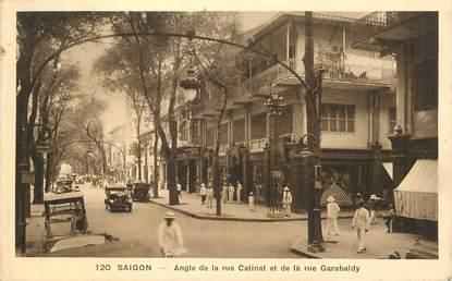 """CPA SAIGON / VIETNAM  """"Angle de la rue Catinat et de la rue Garabaldy"""" / CACHET AMBULANT MARITIME AU VERSO / PHILATÉLIE"""
