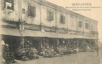 """CPA SINGAPOUR """"magasins de poteries chinoises"""" / CACHET AMBULANT MARITIME AU VERSO / PHILATÉLIE"""