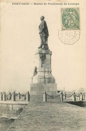 """CPA EGYPTE """"Port Saïd, statue de Ferdinand de Lesseps"""" / CACHET AMBULANT MARITIME AU RECTO et VERSO / PHILATÉLIE"""
