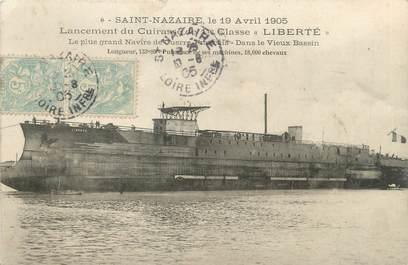 """/ CPA FRANCE 44 """"Saint Nazaire, lancement du cuirasse de première classe, Liberté"""""""