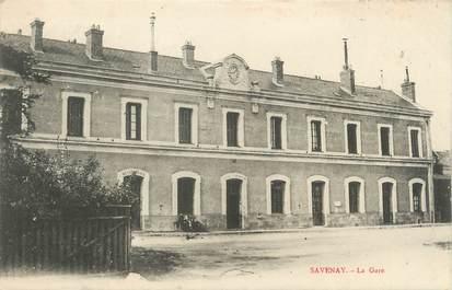 "/ CPA FRANCE 44 ""Savenay, la gare"" / CACHET AMBULANT"