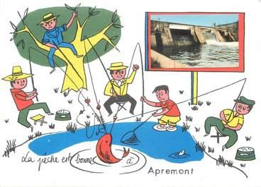 """/ CPSM FRANCE 08 """"Apremont"""" / PECHE"""