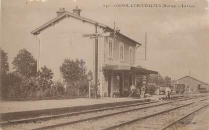 "/ CPA FRANCE 58 ""Corvol L'Orgueilleux, la gare"""