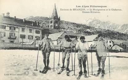"""/ CPA FRANCE 05 """"Le Montgenèvre et le Chaberton"""" / SKIEURS MILITAIRES"""