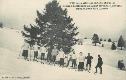 """/ CPA FRANCE 73 """"Aix Les Bains, groupe de skieurs au Mont Revard"""" / SKI"""