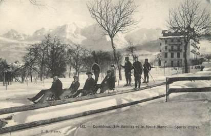 """/ CPA FRANCE 74 """"Combloux et le Mont Blanc"""" / LUGE"""