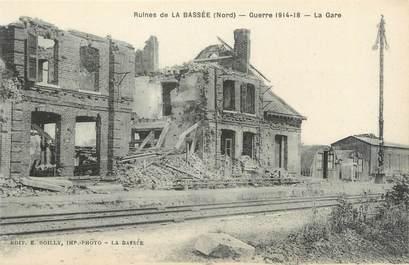 """/ CPA FRANCE 59 """"Ruines de la Bassée, la gare"""""""