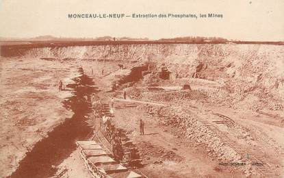 "/ CPA FRANCE 02 ""Monceau Le Neuf, extraction des phosphates"" / MINES"