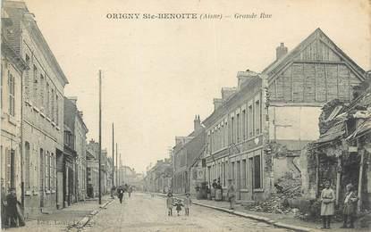 "/ CPA FRANCE 02 ""Origny Sainte Benoite, grande rue"""