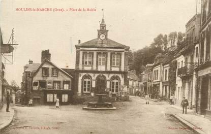 """/ CPA FRANCE 61 """"Moulins La Marche, place de la mairie"""""""