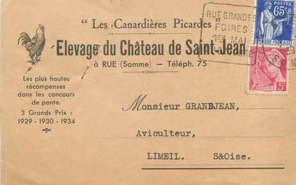 """/ CPA FRANCE 80 """"Rue, élevage du château de Saint Jean"""" / CARTE PUBLICITAIRE"""