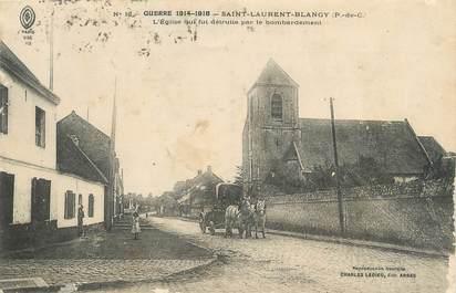 """/ CPA FRANCE 62 """"Saint Laurent Blangy, l'église"""" / ATTELAGE"""