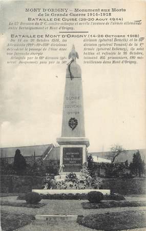 """/ CPA FRANCE 02 """"Mont d'Origny, monument aux morts"""""""