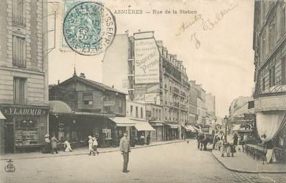 """CPA FRANCE 92 """" Asnières, rue de la station """""""