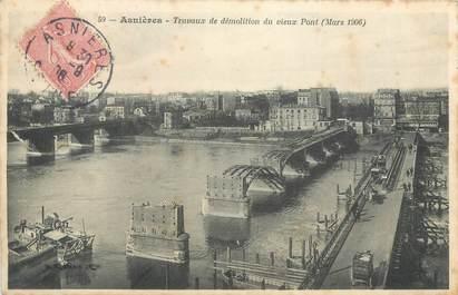 """CPA FRANCE 92 """" Asnières, travaux de démolition du vieux port """""""