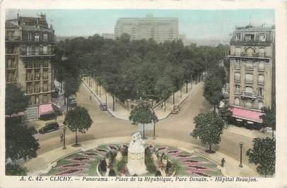 """CPA FRANCE 92 """" Clichy, place de la république """""""