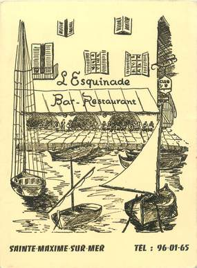 "/ CPA FRANCE 83 ""Saint Maximin sur Mer, Bar restaurant l'esquinade"""