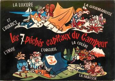 """CPSM CAMPING """"Les 7 Péchés capitaux du campeur"""""""
