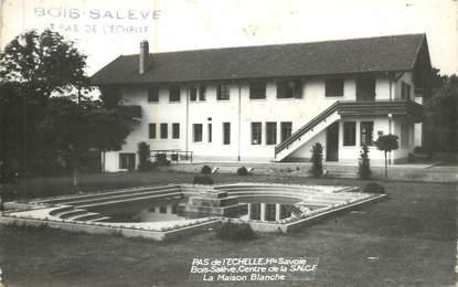 """CPSM FRANCE 74 """"Pas de l'Echelle, la Maison Blanche, centre de la SNCF"""