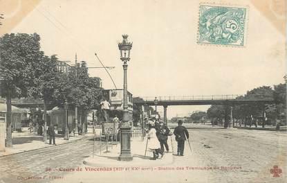 """CPA FRANCE 75020 """"Paris, Cours de Vincennes, station des Tramways"""""""