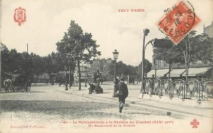 """CPA FRANCE 75019 """"Paris, Métropolitain à la station du Combat, bld de la Villette"""""""