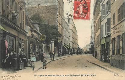 """CPA FRANCE 75019 """"Paris, rue de Belleville à la rue Pelleport"""""""