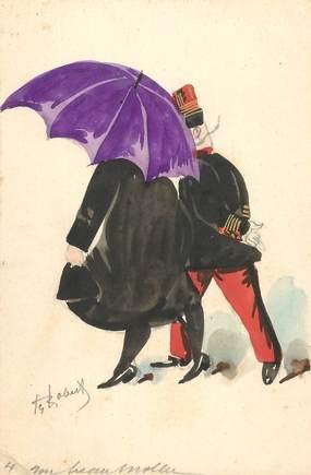 """CPA ILLUSTRATEUR / DESSIN ORIGINAL DE  ROBERTY  """"le curé sous le  parapluie"""""""