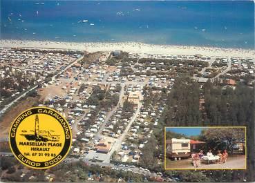 "/ CPSM FRANCE 34 ""Marseillan plage, camping caravaning Europ 2000"""