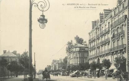"""/ CPA FRANCE 49 """"Angers, boulevard de Saumur, et le marché aux fleurs"""""""