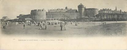 """CPA PANORAMIQUE FRANCE 35 """"Saint Malo, la plage et le château"""""""