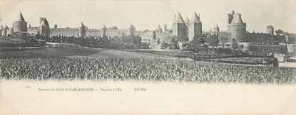 """CPA PANORAMIQUE FRANCE 11 """"Panorama de la Cité de Carcassonne"""""""