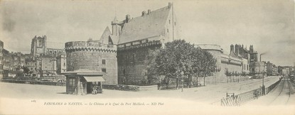 """CPA PANORAMIQUE FRANCE 44 """"Panorama de Nantes, le château et le quai du Port Maillard"""""""