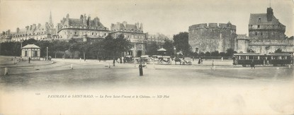 """CPA PANORAMIQUE FRANCE 35 """"Panorama de Saint Malo, la porte Saint Vincent et le château"""""""