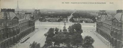 """CPA PANORAMIQUE FRANCE 75001 """"Paris, perspective sur les tuileries et l'avenue des champs Elysées"""""""