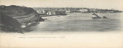 "CPA PANORAMIQUE FRANCE 64 ""Biarritz, panorama de la grande plage, vue prise du phare"""