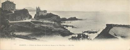 """CPA PANORAMIQUE FRANCE 64 """"Biarritz, l'entrée du chemin de la côte des Basques et la villa Belza"""""""