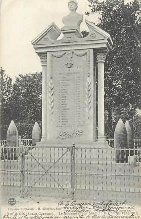 """CPA FRANCE 47 """"Trémons, le monument aux morts de la guerre"""""""