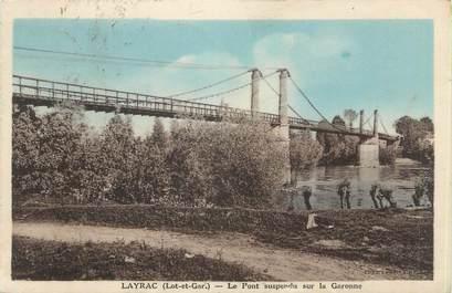 """CPA FRANCE 47 """"Layrac, le pont suspendu sur la Garonne"""""""