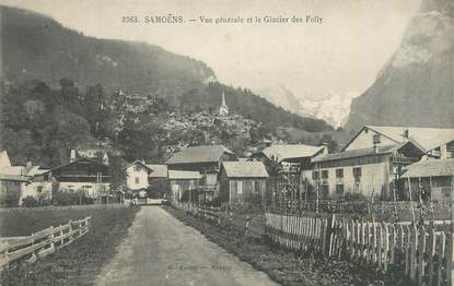 """CPA FRANCE 74 """"Samoëns, vue générale et le glacier des Folly"""""""