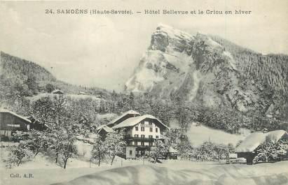 """CPA FRANCE 74 """"Samoëns, hôtel Bellevue et le Criou en hiver"""""""