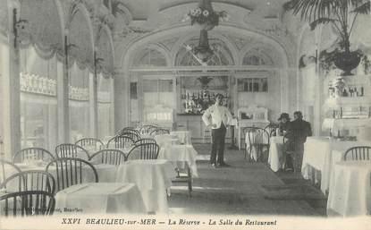 """CPA FRANCE 06 """"Beaulieu sur Mer, la réserve, la salle de restaurant"""""""