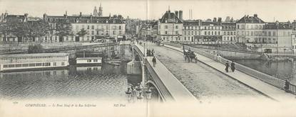 """CPA PANORAMIQUE FRANCE 60 """"Compiègne, le pont neuf et la rue Solférino"""""""