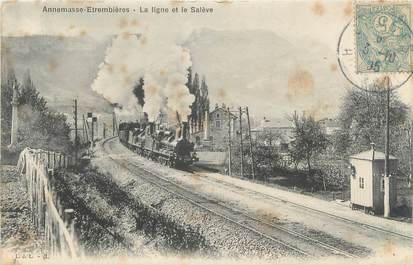 """CPA FRANCE 74 """"Annemasse Estrembières, la ligne et le Salève"""""""
